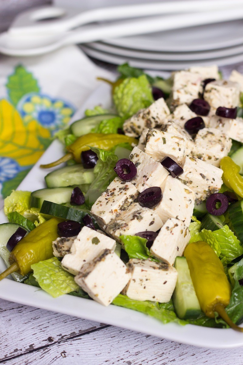 savory romaine salad with tofu feta