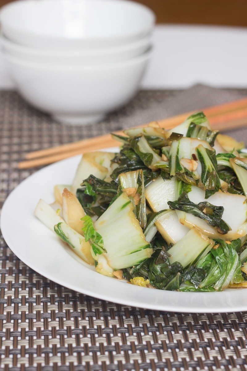 stir fried bok choy with garlic and ginger