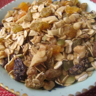 Slightly Sweet Granola with Mixed Dried Fruits, Nuts and Seeds