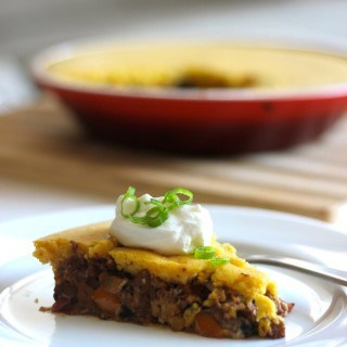 Vegan Black Bean & Seitan Tamale Pie