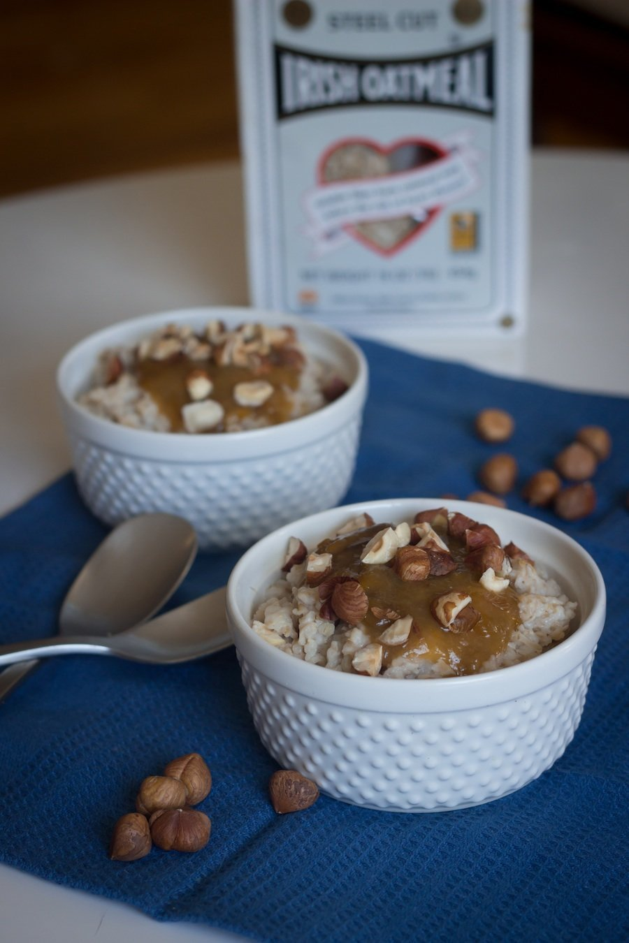 Oatmeal with Stewed Plums and Hazelnuts