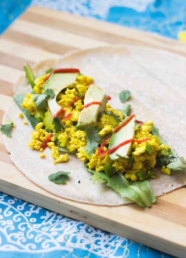 scrambled egg breakfast burrito open